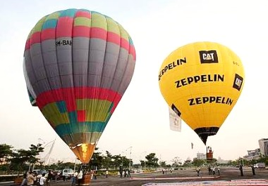 Image: The two hot-air balloons used for the publicity stunt.