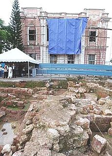Image: Archaeologists have recently uncovered the ancient bastion of Fredrick Hendrick beside the very first HSBC building in Malacca.